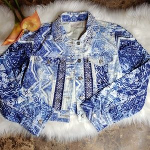 Chico's size 0 Small Beaded Cropped Jean Jacket